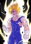 1boy animated animated_gif clenched_hand clenched_teeth dragon_ball_z dragonball energy gif gloves kajin_(kajinman) majin_vegeta male muscular_male solo spiked_hair super_saiyan tight torn_clothes vegeta