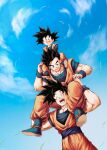 3boys :d ^_^ black_eyes black_hair blue_footwear blue_sky blurry bokeh boots brothers carrying closed_eyes clouds d: day depth_of_field dougi dragon_ball dragon_ball_z dutch_angle father_and_son fingernails fisheye full_body grass hands_on_another's_knees hands_on_another's_leg happy highres looking_at_another looking_down male_focus mattari_illust multiple_boys open_mouth outdoors shoulder_carry siblings sky smile son_gohan son_goku son_goten spiky_hair standing teeth upper_body wind wind_lift wristband