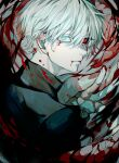 1boy absurdres bangs black_sclera black_shirt blood blood_from_mouth blood_on_face colored_sclera eyebrows_visible_through_hair from_behind from_side grey_eyes grey_hair hair_between_eyes hand_up heterochromia highres kagune_(tokyo_ghoul) kaneki_ken large_hands long_fingers looking_back male_focus pale_skin red_eyes shiny shiny_hair shirt short_hair solo tentacles tokyo_ghoul upper_body ura_take white_hair