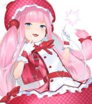 1girl backpack bag belt big_hair blue_eyes buttons copyright_request double-breasted eyebrows_visible_through_hair fang gloves hand_up hands_up hat heart heart_print highres long_hair looking_at_viewer pink_hair randoseru red_belt red_headwear simple_background skin_fang smile smug solo twintails unizou unmoving_pattern very_long_hair white_background white_gloves