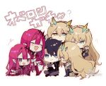 +++ 1boy 5girls :d ? ^_^ armor bangs black_footwear black_gloves black_pants black_shirt blush boots brown_eyes brown_hair closed_eyes cross-laced_footwear dress elbow_gloves eyebrows_visible_through_hair fairy_knight_gawain_(fate) fairy_knight_tristan_(fate) fang fate/grand_order fate_(series) fujimaru_ritsuka_(male) gloves green_eyes hair_between_eyes hair_intakes heterochromia highres knee_boots lace-up_boots long_hair multiple_girls open_mouth pants pauldrons pink_hair red_dress red_footwear shirt short_sleeves shoulder_armor signature single_pauldron sitting smile sofra translated twitter_username very_long_hair white_background