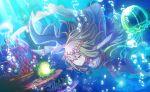 blue_eyes blush dress green_hair kusanagi_nene long_hair project_sekai smile underwater