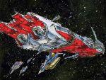 choujikuu_yousai_macross epic fortress ghost_drone macross mecha miyatake_kazutaka oldschool production_art qf-3000e science_fiction sdf-1 sdf-2 space space_craft star the_super_dimension_fortress_macross traditional_media vf-1_super