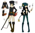black_hair blue_hair boots collar concept_art gun hat honchkrow jewelry l_hakase luxray open_clothes open_shirt pantyhose personification pokemon red_eyes shirt tail uniform weapon yellow_eyes