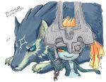 fang helmet imp_midna link link_(wolf) midna nintendo pointy_ears red_eyes smile the_legend_of_zelda twilight_princess wolf wolf_link