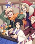 axis_powers_hetalia flag food fruit glasses gloves hat highres japan_(hetalia) orange santa_hat united_kingdom_(hetalia) yuzukarin