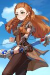 1girl ahoge aloy_(horizon) ass bangs_pinned_back blue_sky blurry bow_(weapon) brown_hair brown_pants clouds cloudy_sky commentary_request depth_of_field forehead genshin_impact green_eyes highres holding holding_bow_(weapon) holding_weapon horizon_zero_dawn long_hair looking_away pants short_sleeves sidelocks sky smile solo weapon xishuu_(user_dvah3828)