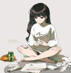 1girl bangs bare_legs barefoot black_hair blue_eyes can cellphone closed_mouth commentary_request crossed_legs cushion full_body grey_background highres holding long_hair long_sleeves orange_nails original paper phone silver_hair sitting sitting_on_person smartphone smile solo sweater tennohi white_sweater