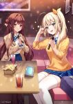 2girls :d :t bag bangs blonde_hair blue_bow blue_neckwear blue_skirt blush bow bowtie brown_hair closed_mouth commentary_request copyright_request couch cup drink drinking_glass eyebrows_visible_through_hair food french_fries green_eyes hair_bun hair_ribbon highres holding holding_microphone karaoke long_hair long_sleeves looking_at_viewer microphone miniskirt mole mole_under_eye multiple_girls official_art on_couch open_mouth picture_(object) pink_eyes pleated_skirt pout reflection ribbon rosuuri school_bag side_bun side_ponytail skirt smile star_(symbol) straight_hair sweater table thigh-highs v-shaped_eyebrows very_long_hair white_legwear yellow_ribbon yellow_sweater zettai_ryouiki