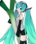 1girl aqua_eyes aqua_hair bare_shoulders blush breast_rest breasts detached_sleeves fang green_eyes green_hair hair_ornament hatsune_miku headphones highres long_hair looking_at_viewer medium_breasts necktie open_mouth skirt smile solo thigh-highs twintails very_long_hair vocaloid