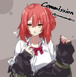 1girl ahoge bangs commission eyebrows_visible_through_hair girls_frontline highres medium_hair mp7_(girls'_frontline) partially_unbuttoned red_nails redhead ribbon skeb_commission solo undressing yamasemi_(yy8023) yellow_eyes