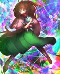 1girl absurdres bangs blue_eyes blush boots brown_footwear brown_hair capelet closed_mouth commentary_request cookie_(touhou) dress food-themed_hair_ornament full_body green_dress hair_ornament hairband highres ichigo_(cookie) long_hair looking_at_viewer multicolored multicolored_background niwarhythm pink_capelet red_hairband red_sash sash solo strawberry_hair_ornament stuffed_animal stuffed_bunny stuffed_toy very_long_hair wavy_mouth