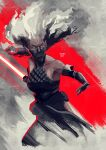 1girl black_gloves breasts collarbone dark-skinned_female dark_skin elbow_gloves energy_sword english_commentary floating_hair gloves halter_top halterneck highres holding holding_sword holding_weapon lightsaber looking_to_the_side mask medium_breasts mouth_mask open_hand pointy_ears sith sith_bandit_leader solo star_wars star_wars:_visions sword uzuri_art weapon white_hair