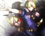 2girls alice_margatroid bangs belt blonde_hair blue_dress brown_belt capelet cigarette closed_mouth commentary_request cookie_(touhou) cowboy_shot dress expressionless glowing glowing_eyes hat highres jigen_(cookie) kirisame_marisa koga_(cookie) long_hair looking_to_the_side monster multiple_girls necktie niwarhythm one_eye_closed outstretched_arm red_eyes sharp_teeth short_hair smoking teeth touhou white_capelet witch_hat yellow_neckwear