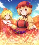 2girls aki_minoriko aki_shizuha apron autumn autumn_leaves bangs belt blonde_hair blue_sky blush bow bowtie breasts brown_belt brown_bow brown_neckwear closed_mouth clouds cloudy_sky collared_dress dress eyebrows_visible_through_hair food fruit grapes hair_between_eyes hair_ornament hat leaf leaf_hair_ornament leaf_on_head long_sleeves looking_at_viewer looking_to_the_side medium_breasts mob_cap multiple_girls open_mouth orange_eyes orange_hair puffy_sleeves red_apron red_dress red_headwear rururiaru short_hair sky touhou wide_sleeves yellow_dress yellow_eyes