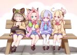 4girls :d ahoge alternate_costume animal_ears animal_hood bandaged_leg bandages bangs bangs_pinned_back bench black_legwear blonde_hair blue_skirt bottle bow bowtie braid braided_ponytail brown_cardigan brown_footwear brown_hoodie cardigan cat_ears cat_girl cat_tail closed_eyes clover_print coin_hair_ornament collared_shirt commentary_request contemporary diona_(genshin_impact) dress_shirt drinking drinking_straw drinking_straw_in_mouth drooling dual_wielding earrings eyebrows_visible_through_hair fake_animal_ears fake_tail feathers forehead genshin_impact green_eyes grey_hair hair_between_eyes hair_ornament hair_ribbon harada_(sansei_rain) highres holding holding_bottle hood hood_up hooded_sweater hoodie jacket jewelry jiangshi klee_(genshin_impact) knees_together_feet_apart leaf leaf_on_head light_brown_hair loafers long_hair long_sleeves looking_at_another low_ponytail low_twintails multiple_girls ofuda on_bench open_cardigan open_clothes open_mouth orange_eyes park_bench pink_cardigan pink_eyes pink_hair pink_legwear plaid plaid_skirt pleated_skirt pointy_ears puffy_long_sleeves puffy_sleeves purple_hair purple_sweater qiqi_(genshin_impact) raccoon_ears raccoon_hood raccoon_tail red_bow ribbon sayu_(genshin_impact) school_uniform shirt shoes short_eyebrows short_hair sidelocks silver_hair single_braid sitting skirt sleeping sleeves_past_wrists smile socks sweater sweater_jacket tail thick_eyebrows thigh-highs twintails violet_eyes white_feathers white_legwear white_shirt zettai_ryouiki
