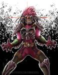 1boy another_ex-aid another_rider_(zi-o) armor claws clenched_teeth colored_skin creature driver eunnieverse evil_grin evil_smile fingernails glaring grin hair_intakes kamen_rider kamen_rider_zi-o_(series) long_hair monster open_hands patreon_username pink_hair pink_skin sharp_fingernails shoulder_spikes smile spikes sunken_eyes teeth yellow_eyes yellow_teeth