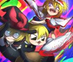3girls absurdres alice_margatroid bangs black_capelet black_eyes black_gloves black_headwear black_skirt black_vest blonde_hair blood blue_dress blue_eyes bow capelet closed_mouth commentary_request cookie_(touhou) cowboy_shot dress elbow_gloves gloves hat hat_bow highres ichigo_(cookie) kirisame_marisa long_hair looking_at_another meguru_(cookie) multicolored multicolored_background multiple_girls necktie niwarhythm open_mouth red_bow red_neckwear short_hair skirt sleeves_past_fingers sleeves_past_wrists slit_throat smile touhou vest white_capelet witch_hat yuuhi_(cookie)