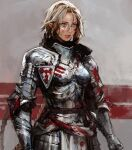 1girl armor blonde_hair blood blood_on_face blue_eyes boobplate chocofing_r closed_mouth commentary facial_mark gauntlets grey_background hair_between_eyes lips looking_away original plate_armor pointy_ears shoulder_armor simple_background solo standing symbol-only_commentary upper_body
