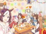 6+girls alternate_costume animal_ears arm_up bed birthday_cake birthday_party blue_eyes bottle bow box braid brown_hair cake casual closed_eyes cookie cup curtains cushion desk_lamp disposable_cup domino_mask doughnut ear_covers el_condor_pasa_(umamusume) english_text eyebrows_visible_through_hair food fork gift grass_wonder_(umamusume) hair_ornament hairclip happy_birthday haru_urara_(umamusume) holding holding_cup holding_fork holding_phone hood hoodie horse_ears horse_girl horse_tail indoors king_halo_(umamusume) knife lamp light_brown_hair light_green_hair long_hair long_sleeves mask muffin multicolored_hair multiple_girls ninjin_nouka open_mouth paper_chain phone picture_frame pillow pink_hair pizza plant plate ponytail potted_plant red_eyes sash seiun_sky_(umamusume) shelf shirt short_hair shorts single_ear_cover sitting skirt special_week_(umamusume) sweater sweater_vest table tail taking_picture two-tone_hair umamusume v violet_eyes white_hair wooden_floor