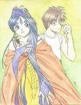 1990s_(style) aa_megami-sama belldandy deviantart goddess hairband morisato_keiichi one_boy one_girl