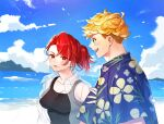 1boy 1girl bangs beach black_tank_top blonde_hair blush clouds couple day earrings genderswap genderswap_(mtf) granblue_fantasy green_eyes hawaiian_shirt jacket jewelry looking_at_another looking_at_viewer open_clothes open_jacket open_mouth outdoors percival_(granblue_fantasy) ponytail red_eyes redhead satoimo_sanda see-through see-through_jacket shirt short_hair sky smile tank_top tied_hair undercut upper_body vane_(granblue_fantasy)