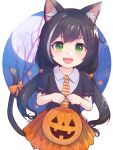1girl animal_ear_fluff animal_ears bangs black_hair bow bucket cat_ears cat_tail child collared_shirt commentary_request cowboy_shot eyebrows_visible_through_hair fangs green_eyes halloween_bucket highres holding holding_bucket karyl_(princess_connect!) long_hair looking_at_viewer low_twintails multicolored_hair necktie open_mouth orange_skirt pleated_skirt princess_connect! puffy_short_sleeves puffy_sleeves shirt short_sleeves skirt smile solo streaked_hair tail tail_bow tail_ornament twintails yako_noir younger