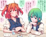 2girls bangs blue_dress blush chopsticks closed_mouth cup dress epaulettes food green_eyes green_hair hair_bobbles hair_ornament holding holding_cup juliet_sleeves kitsune_maru long_sleeves looking_at_another multiple_girls onozuka_komachi open_mouth plate puffy_sleeves red_eyes redhead shiki_eiki short_hair short_sleeves smile speech_bubble touhou translation_request two_side_up upper_body