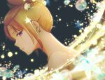 1girl blonde_hair earrings from_side gintama highres jewelry nude paleatus parted_lips profile scar scar_across_eye scar_on_cheek scar_on_face solo tied_hair tsukuyo_(gintama) violet_eyes