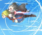 2girls absurdres alice_margatroid animal_ears arrow_(symbol) bangs black_footwear blonde_hair blue_dress boots brown_footwear capelet closed_eyes commentary_request cookie_(touhou) dress eyebrows_visible_through_hair full_body gaba_physics grey_hair grey_skirt grey_vest hairband highres ichigo_(cookie) jetpack long_sleeves mouse_ears mouse_girl multiple_girls nazrin niwarhythm nyon_(cookie) open_mouth pantyhose red_eyes red_hairband red_neckwear shirt shoes short_hair skirt smile socks touhou vest white_capelet white_legwear white_shirt