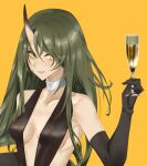 1girl absurdres alcohol alternate_costume arknights bangs bare_shoulders black_dress black_gloves breasts choker collarbone commentary_request cup dress drinking_glass elbow_gloves gloves green_hair grin hair_between_eyes hand_up highres holding holding_cup horns hoshiguma_(arknights) kokushi_shigotoboshuuchuu long_hair looking_at_viewer medium_breasts parted_lips simple_background single_horn smile solo upper_body white_choker wine wine_glass yellow_background yellow_eyes