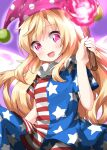 1girl american_flag_legwear american_flag_shirt bangs blonde_hair blue_pants blue_shirt blue_sleeves blush breasts clownpiece eyebrows_visible_through_hair fairy_wings fire hair_between_eyes hand_up hat highres jester_cap long_hair looking_at_viewer medium_breasts multicolored multicolored_clothes multicolored_pants multicolored_shirt one-hour_drawing_challenge open_mouth pants pink_eyes pink_fire pink_headwear polka_dot purple_background red_pants red_shirt red_sleeves ruu_(tksymkw) shirt short_sleeves simple_background sitting smile solo star_(symbol) star_print striped striped_pants striped_shirt torch touhou white_pants white_shirt white_sleeves wings