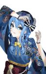 1girl arm_up beret blue_eyes blue_hair blue_kimono bow braid earrings fishnet_gloves fishnets floral_print gloves hair_between_eyes hair_bow hat hat_bow hololive hoshimachi_suisei japanese_clothes jewelry kimono long_hair long_sleeves looking_at_viewer mania_(fd6060_60) obi open_mouth sash simple_background solo star_(symbol) star_earrings star_in_eye striped striped_bow symbol_in_eye tassel twin_braids upper_body virtual_youtuber white_background wide_sleeves yellow_neckwear yukata
