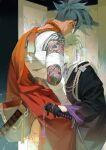 2boys alternate_costume androgynous arm_tattoo bandaged_arm bandaged_chest bandages bangs black_gloves black_kimono blue_eyes blue_hair earrings finger_ribbon folding_screen galo_thymos gloves green_hair hand_on_hip hand_print highres holding holding_weapon hover_hand inuyama_(inuhill) japanese_clothes jewelry katana kimono leg_tattoo lio_fotia long_sleeves looking_back male_focus multicolored multicolored_clothes multicolored_kimono multiple_boys orange_kimono parted_lips ponytail promare rope scar scar_on_face scar_on_neck shimenawa short_hair spiky_hair star_(sky) sword tassel tassel_earrings tattoo turtleneck upper_body vest violet_eyes weapon white_vest wide_sleeves
