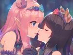 2girls animal_ears bangs black_hair blue_eyes blue_flower blue_rose closed_eyes commentary_request detached_sleeves dress flower hairband hand_grab hatsune_(princess_connect!) highres imminent_kiss lens_flare long_hair looking_at_another multiple_girls noses_touching open_mouth pink_hair princess_connect! raised_eyebrows rose shiori_(princess_connect!) sidelocks sleeveless sleeveless_dress upper_body yako_noir yuri