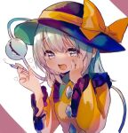 1girl :d \  / bangs black_headwear blue_eyes bow breasts commentary_request eyebrows_visible_through_hair fingernails frilled_shirt_collar frills hair_between_eyes hand_on_own_cheek hand_on_own_face hand_up hat hat_bow heart holding holding_syringe komeiji_koishi long_hair long_sleeves looking_at_viewer moni_monico open_mouth shirt silver_hair simple_background small_breasts smile solo syringe third_eye touhou upper_body white_background wide_sleeves yellow_bow yellow_shirt