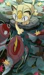 anzu_(01010611) black_eyes cat claws closed_mouth day fangs fish goldeen highres leaf magikarp meowth no_humans outdoors pokemon pokemon_(creature) ripples symbol-only_commentary water