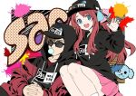 1boy 1girl bangs baseball_cap black_headwear black_hoodie blue_bow blue_eyes bow brown_hair chewing_gum claw_pose clothes_writing da_huang drawstring english_text graffiti hair_bow hands_together hat hood hood_down hood_up hoodie interlocked_fingers jacket long_hair long_sleeves looking_at_viewer looking_to_the_side minamoto_sakura miniskirt open_clothes open_jacket open_mouth paint_splatter pink_bow pink_skirt pleated_skirt polka_dot polka_dot_bow print_headwear red_jacket redhead romero_(zombie_land_saga) short_hair side-by-side sitting skirt smile sunglasses tatsumi_koutarou zombie_land_saga
