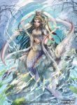 1girl banamons fish_tail jewelry long_hair mermaid monster_girl original red_eyes scales tail tied_hair water