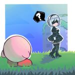 1girl absurdres bbycheese black_blindfold black_dress black_hairband blindfold covered_eyes crossover dress feather-trimmed_sleeves hairband highres kirby kirby_(series) kirby_and_the_forgotten_land nier_(series) nier_automata yorha_no._9_type_s