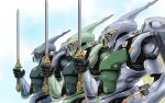 antennae army cable claws clouds colored_pencil_(medium) dunbine fantasy graphite_(medium) highres insect_wings izo_(bjc000510) machinery mecha salute scan science_fiction seisenshi_dunbine sword traditional_media upper_body weapon wings