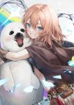 1girl animal animal_hug bag bangs blue_eyes breasts brown_gloves brown_hair cape commentary crop_top douya_(233) from_side gloves grin hair_between_eyes happy hood hood_down hooded_cape hug looking_at_viewer medium_hair muimi_(princess_connect!) princess_connect! seal_(animal) shirt short_sleeves small_breasts smile solo symbol-only_commentary torn_cape torn_clothes torn_shirt upper_body water