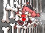 1girl ahoge bangs beret bone chibi hat hololive kakuzatou_(koruneriusu) medium_hair official_alternate_costume open_mouth pink_hair pleated_skirt red_skirt running sakura_miko shirt skirt solo undertale virtual_youtuber white_shirt