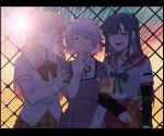 3girls abstract_background absurdres arm_at_side azusa_mifuyu backlighting blonde_hair blue_hair blurry bokeh brown_skirt center_frills chain-link_fence clenched_hand clenched_teeth closed_eyes darkness depth_of_field eyebrows_visible_through_hair facing_viewer fence frills green_ribbon hair_horns hand_on_another's_shoulder hand_to_own_mouth hand_up happy high-waist_skirt high_collar highres jewelry kamihama_university_affiliated_school_uniform laughing layered_sleeves letterboxed lineup locked_arms long_hair long_sleeves magia_record:_mahou_shoujo_madoka_magica_gaiden mahou_shoujo_madoka_magica mizuna_girls'_academy_uniform mocaccc multicolored multicolored_background multiple_girls nanami_yachiyo neck_ribbon open_mouth plaid plaid_skirt pleated_skirt red_ribbon red_sailor_collar red_skirt ribbon ring sailor_collar sakae_general_school_uniform school_uniform short_over_long_sleeves short_sleeves sidelocks skirt standing teeth upper_body white_hair white_sailor_collar younger yukino_kanae