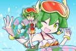1girl bracelet collarbone draco_centauros dragon_girl dragon_horns dragon_tail dragon_wings eyebrows_visible_through_hair fang flip-flops goggles goggles_on_head green_eyes green_hair holding holding_innertube horns innertube jewelry looking_at_viewer one-piece_swimsuit one_eye_closed open_mouth puyopuyo sandals short_hair smile snorkel solo swimsuit tail takazaki_piko twitter_username wings
