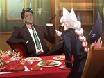 1boy 1girl absurdres animal_ears aragami_oga bangs black_hair black_jacket blue_jacket blurry blurry_background bookshelf braid braided_ponytail brown_gloves collared_shirt commentary_request dark-skinned_male dark_skin earrings fox_ears fox_girl fox_tail gloves green_eyes green_hair green_neckwear highres hololive holostars horns indoors jacket jewelry long_hair looking_at_another multicolored_hair necktie open_mouth pentagram plate pointing_at_another shirakami_fubuki shirt short_hair silou_b single_braid single_horn sitting streaked_hair swept_bangs table tail virtual_youtuber white_gloves white_hair white_shirt