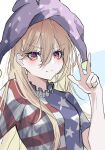 1girl american_flag_dress bangs blonde_hair blush breasts clownpiece cropped_torso diamond-shaped_pupils diamond_(shape) eyebrows_visible_through_hair fairy_wings hair_between_eyes hat hegata_(hegatia_lapis) highres jester_cap long_hair looking_at_viewer medium_breasts polka_dot purple_headwear red_eyes simple_background smile solo symbol-shaped_pupils touhou upper_body v white_background wings