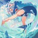 1girl ass bangs blue_eyes blue_hair claw_pose eyebrows_visible_through_hair feet fish_tail g_yuusuke gawr_gura hair_ornament highres hololive hololive_english kneepits looking_at_viewer looking_back medium_hair multicolored_hair open_mouth shark_girl shark_tail sharp_teeth silver_hair sky smile soles solo streaked_hair tail teeth toes tongue virtual_youtuber water