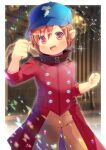 1girl :d bangs baseball_cap blue_headwear blurry blurry_background brown_hair brown_pants clenched_hand coat commission depth_of_field eyebrows_visible_through_hair hair_between_eyes hand_up hat kou_hiyoyo long_sleeves looking_at_viewer open_mouth original pants pointy_ears red_coat red_eyes skeb_commission smile solo standing v-shaped_eyebrows