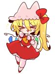 >_< 1girl :3 animal_ears ascot blonde_hair bow cat_ears crystal ears_through_headwear fang flandre_scarlet frills hat hat_ribbon highres medium_hair mob_cap one_side_up op_na_yarou puffy_short_sleeves puffy_sleeves red_bow red_eyes red_ribbon red_skirt red_vest ribbon shirt short_hair short_sleeves siblings side_ponytail simple_background sisters skirt skirt_set solo touhou vest white_background white_shirt wings yellow_neckwear